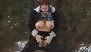 busty mom peeing in snow