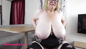 Amazing big boobs Granny in girdle and stockings