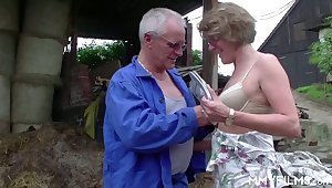 Old bitch Karin seduces farmer and gives him best ever blowjob in his life