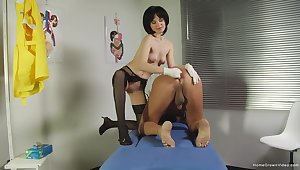 Mature plays with the submissive man in a kinky femdom